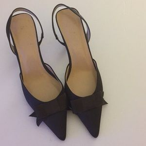 J Crew Brown Bow Satin Slingback Kitten Heel